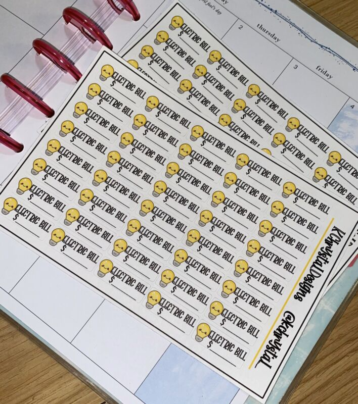 Budget Planner Stickers Electricity Bill Due