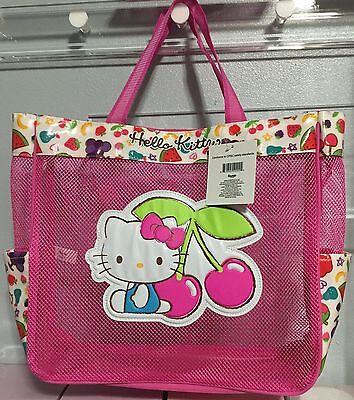2015 Rare New Cute HELLO KITTY fruits beach zippered tote handbag travel play!