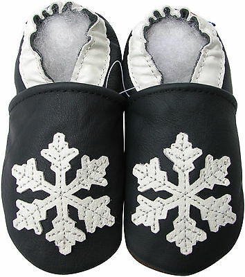 carozoo snowflake dark blue 12-18m soft soled leather baby shoes (Baby Blue 12)