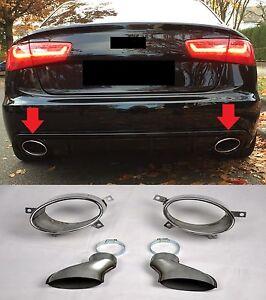 FÜR AUDI RS7 RS6 RS5 RS4 RS LOOK ENDROHRE BLENDEN AUSPUFF DUPLEX CHROM BLENDE #7