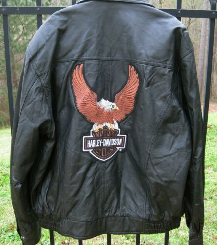 HARLEY DAVIDSON black leather jacket retro vintage style classic size men