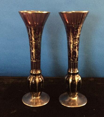 Pair of Antique Amethyst Silver Deposit Glass Vases