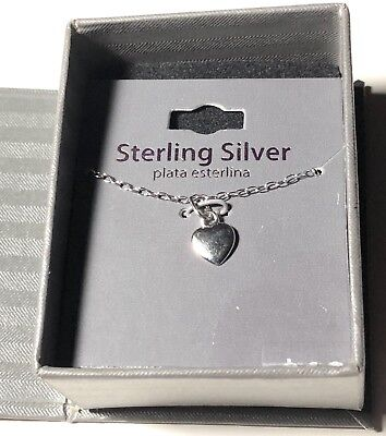 Dainty Sterling Silver Necklace Heart Pendant 18