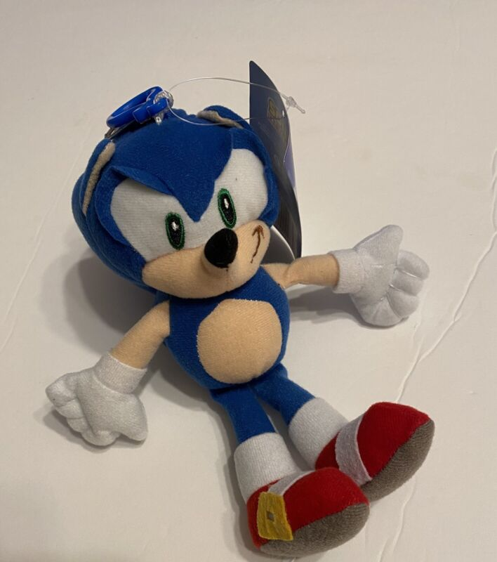 """8"""" Sonic The Hedgehog Soft Plush  Key Chain Coin Bag Clip On Licensed"""