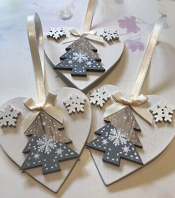 3 X Nordic Christmas Decorations Shabby Chic Wood Heart Tree Bows Cream Grey ()