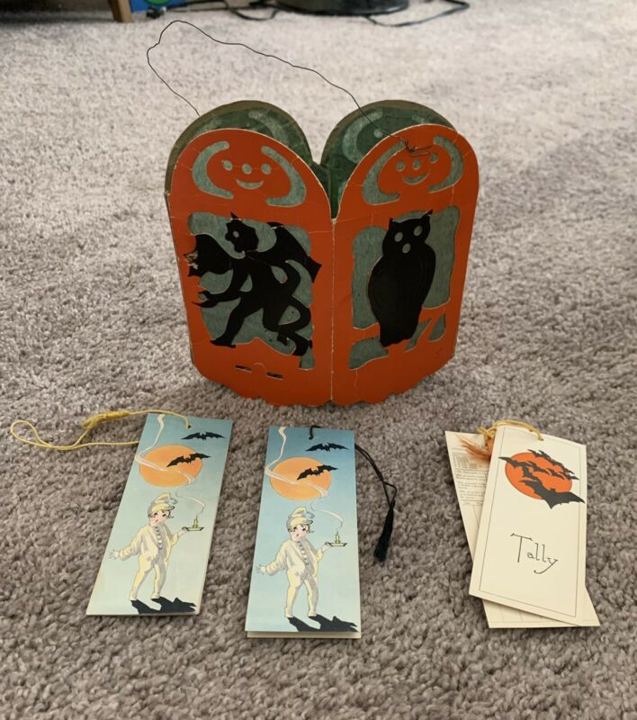 Vintage Hallmark Halloween Bridge Tally Cards Jack-O-Lantern & Paper Lantern Lot