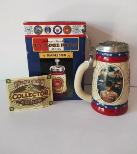 Anheuser Busch U.S. Armed Forces Series Marines Stein Limited Edition In Box COA