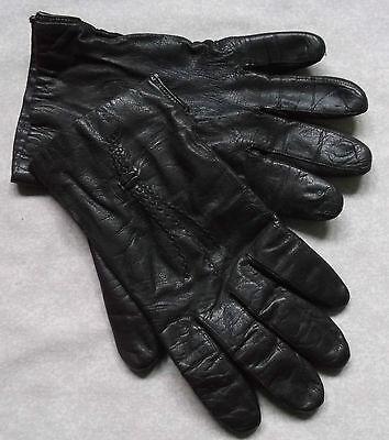 Vintage Gloves WOMENS Leather Retro Driving DARK BROWN