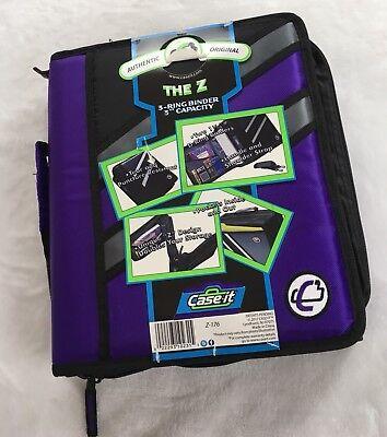 Case It The Z 3 Ring Binder 3 Capacity Purple Black Gray Handle Strap Pockets