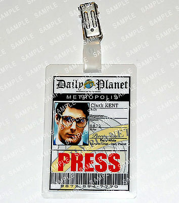 Superman Clark Kent Pass Daily Planet Cosplay Costume Comic Con Halloween