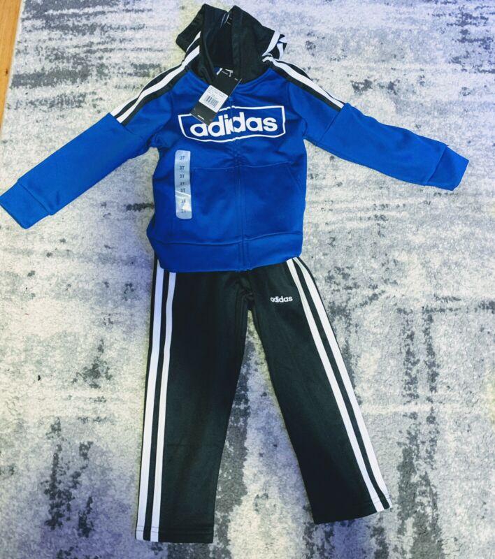 Boys Toddler 3T Adidas Tracksuit Black&Blue NEW