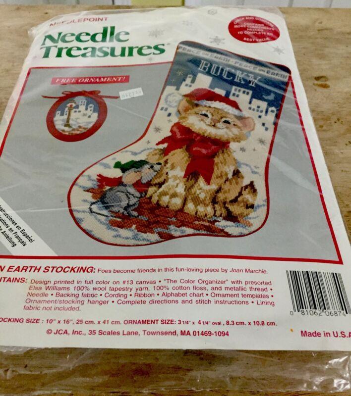 NEW Needle Treasures Christmas Needlepoint Stocking Kit,PEACE ON EARTH,06874