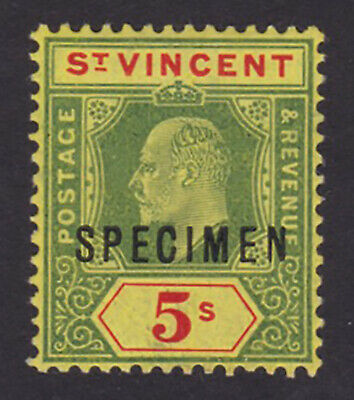 St Vincent. SG 92s, 5/- green & red/yellow, specimen. Fine mounted mint.