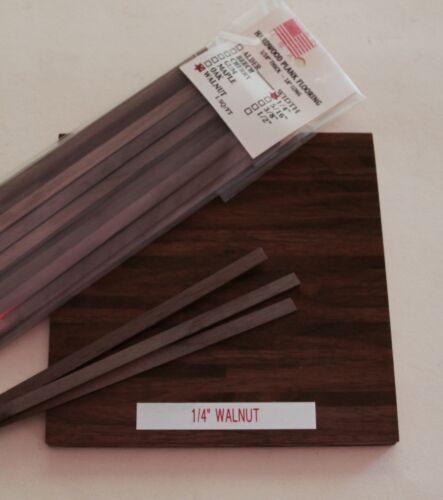 "Dollhouse Miniature 1/4"" Wide Walnut Wood Plank Flooring  1"" Scale"
