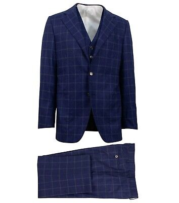 NWT CARUSO Blue Check Wool 3 Roll 2 Button 3 Piece Suit Size 50/40 R Drop 7