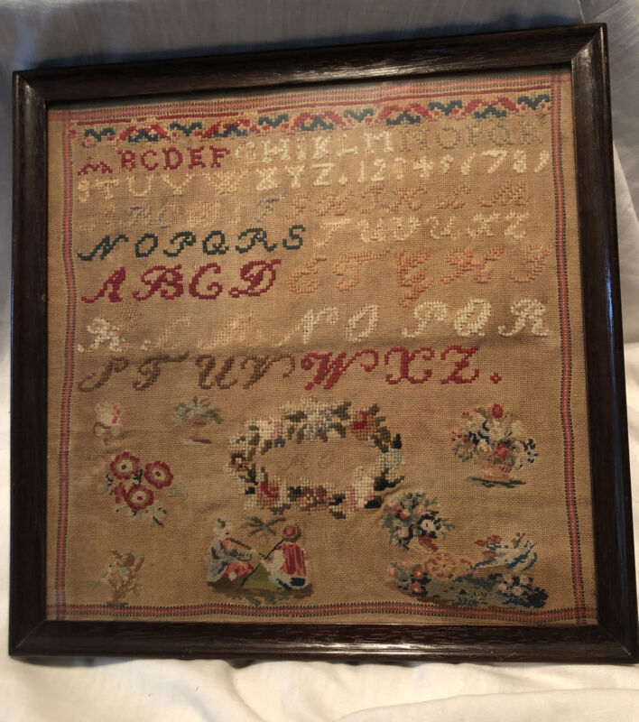 1850s European Schoolgirl Sampler Embroidery Antique Work Detailed 14x14""