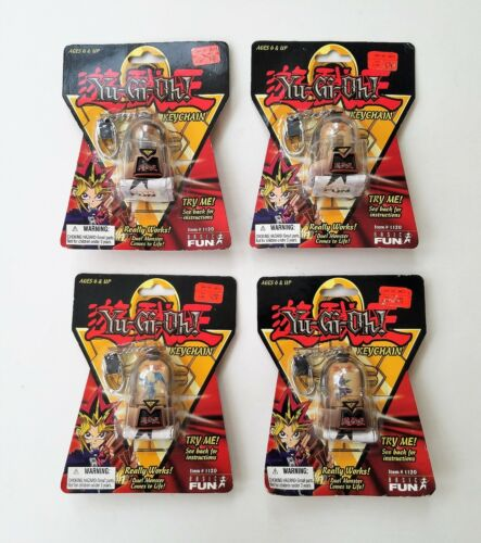 1996 YU-GI-OH 3D COLLECTIBLE KEY CHAINS COMPLETE SET OF 4 (FACTORY SEALED)