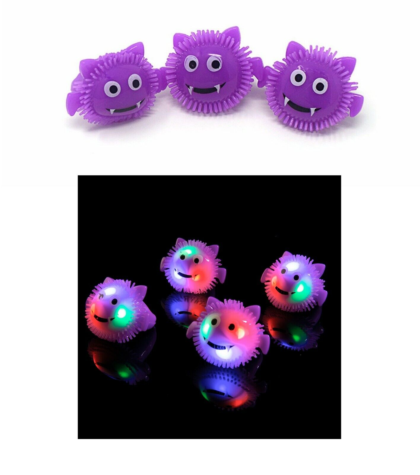 New Black Cat Flashing LED Jelly Rings Light Up Finger Glow Party Bag Wholesale
