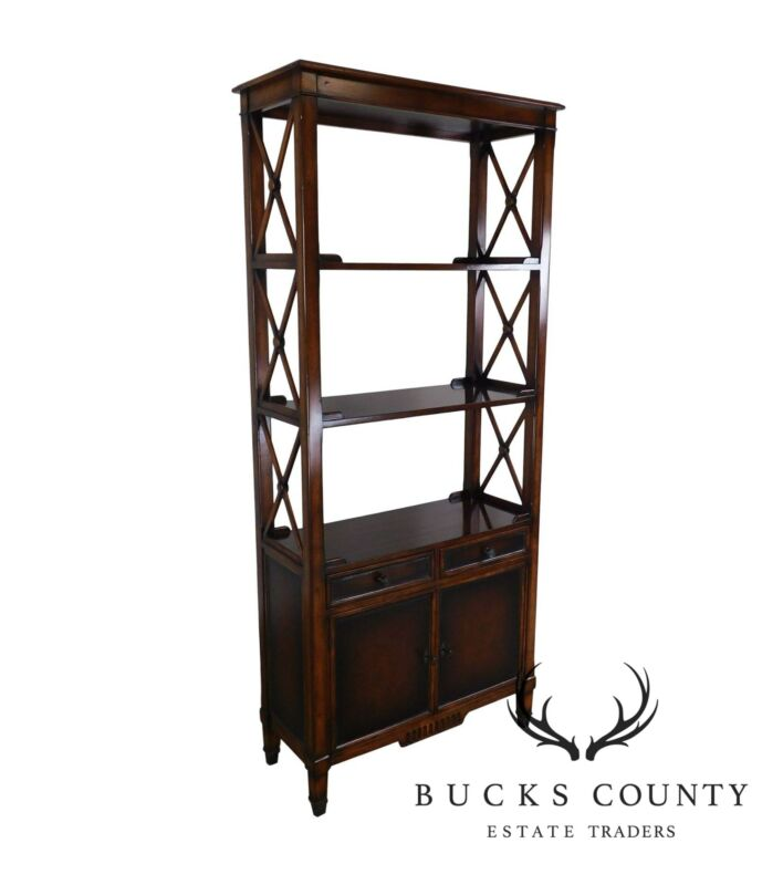 Hickory White Regency Style Mahogany Etagere Bookcase with Leather