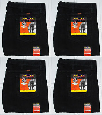 Rustler By Wrangler Men's Regular Fit Straight Leg Black Heavyweight Denim - Black Regular Fit Jeans