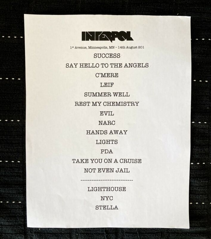 Interpol Setlist. 1st Avenue Minneapolis MN. Aug 14th 2010