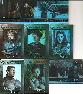 8 different Game of Thrones Season Seven Foil Parallel Trading Cards