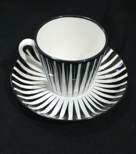 Black ZEBRA Cup & Saucer Upsala Ekeby Gefle Eugen Trost Sweden Pottery Tea Coffe