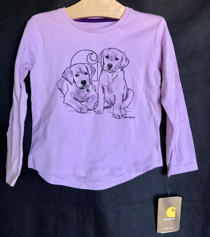 CARHARTT Purple w/ Dog Graphic Long Sleeve Shirt Toddler Girl Size 2T NEW!
