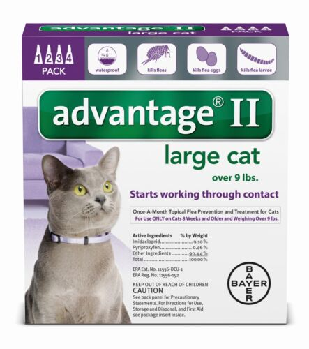 Advantage II for Cats over 9 lbs - 4 Pack - US EPA approved FREE Shipping NEW