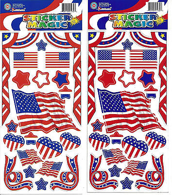 USA Flag Sticker Sheets Lot of 2 United States Patriotic Themed Stickers State Usa Scrapbooking Stickers