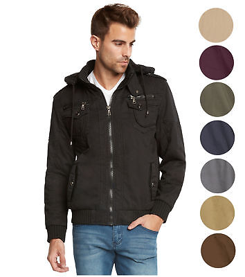 Maximos Men's Sherpa Lined Sahara Hooded Multi Pocket Bomber