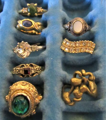 Lot of 8 Vintage Cocktail Rings Variety of Sizes  (I)