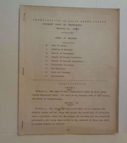 RARE AUTHENTIC 1936 SOCIALIST PARTY CONSTITUTION OF READING PA & BERKS COUNTY