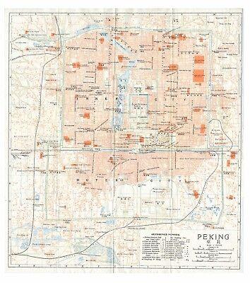 Original very rare 1915 map of Peking Beijing China