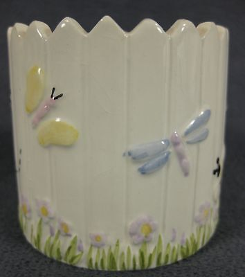 Yankee Candle Votive Holder White Picket Fence Bee Butterfly Dragonfly Ladybug