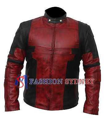 Deadpool All Costumes (Dead pool  Wade Wilson Waxed Real Genuine Leather Costume Jacket +All)