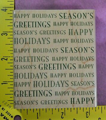 Christmas Rubber Stamps (SEASON'S GREETINGS & HAPPY HOLIDAYS Christmas background Hero Arts rubber)