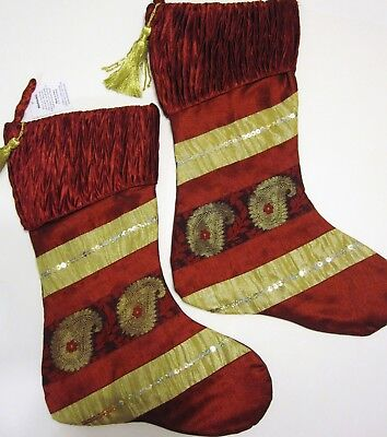 Christmas Stockings Lot of 2 Burgundy Red Gold (Gold Christmas Stockings)