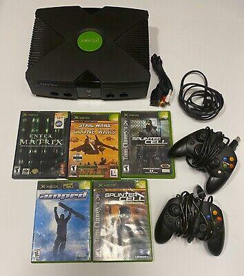 Microsoft XBOX ORIGINAL Classic CONSOLE BLACK COMPLETE W/ 6 Games 2 Controllers