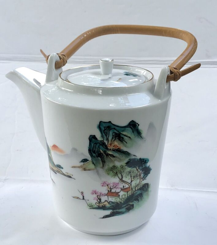 Vintage Cathay Xiamen China Hand Painted Teapot with Bamboo Handle and Lid