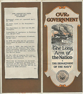 Newark NJ 1921 Brochure Washington Trust Co.Our Government Department of Navy
