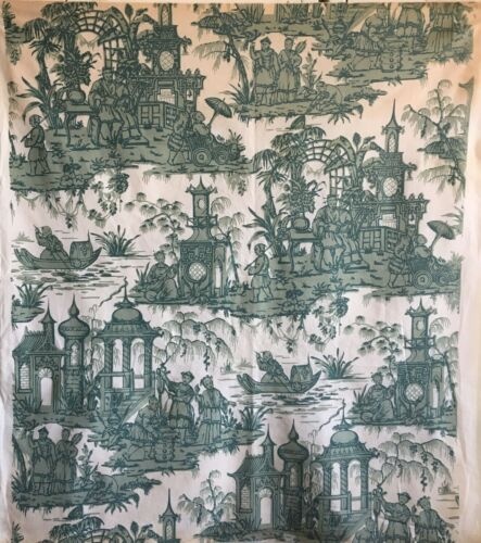 Charming Mid 20th C. French Chinoiserie Scenic Toile Printed Fabric   (2690)