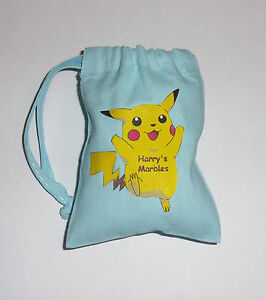 PERSONALISED POKEMON MARBLES STORAGE COTTON DRAWSTRING GIFT BAG - NEW