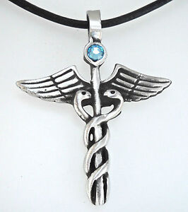 Pewter-CADUCEUS-Medical-DR-RN-Nurse-AQUAMARINE-Crystal-MARCH-Birthstone-Pendant