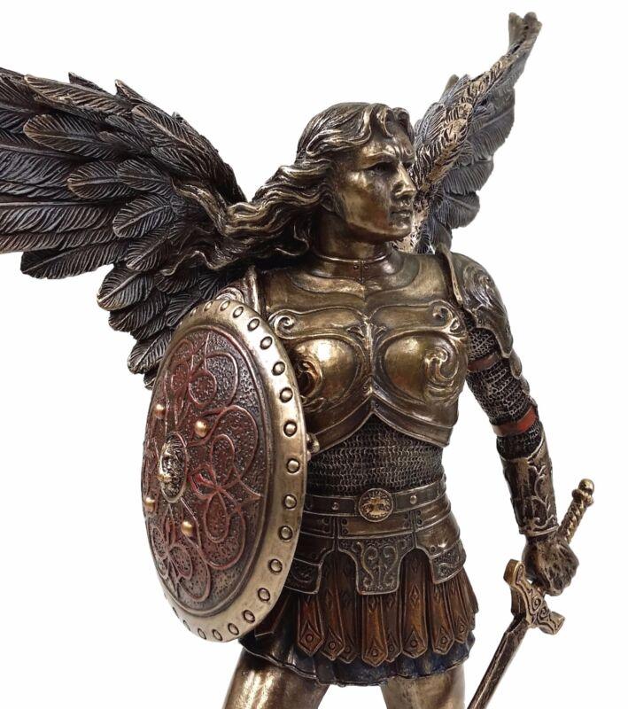 "9.5"" ST MICHAEL ARCHANGEL SWORD & SHIELD DEMON Figurine Statue Bronze Finish"