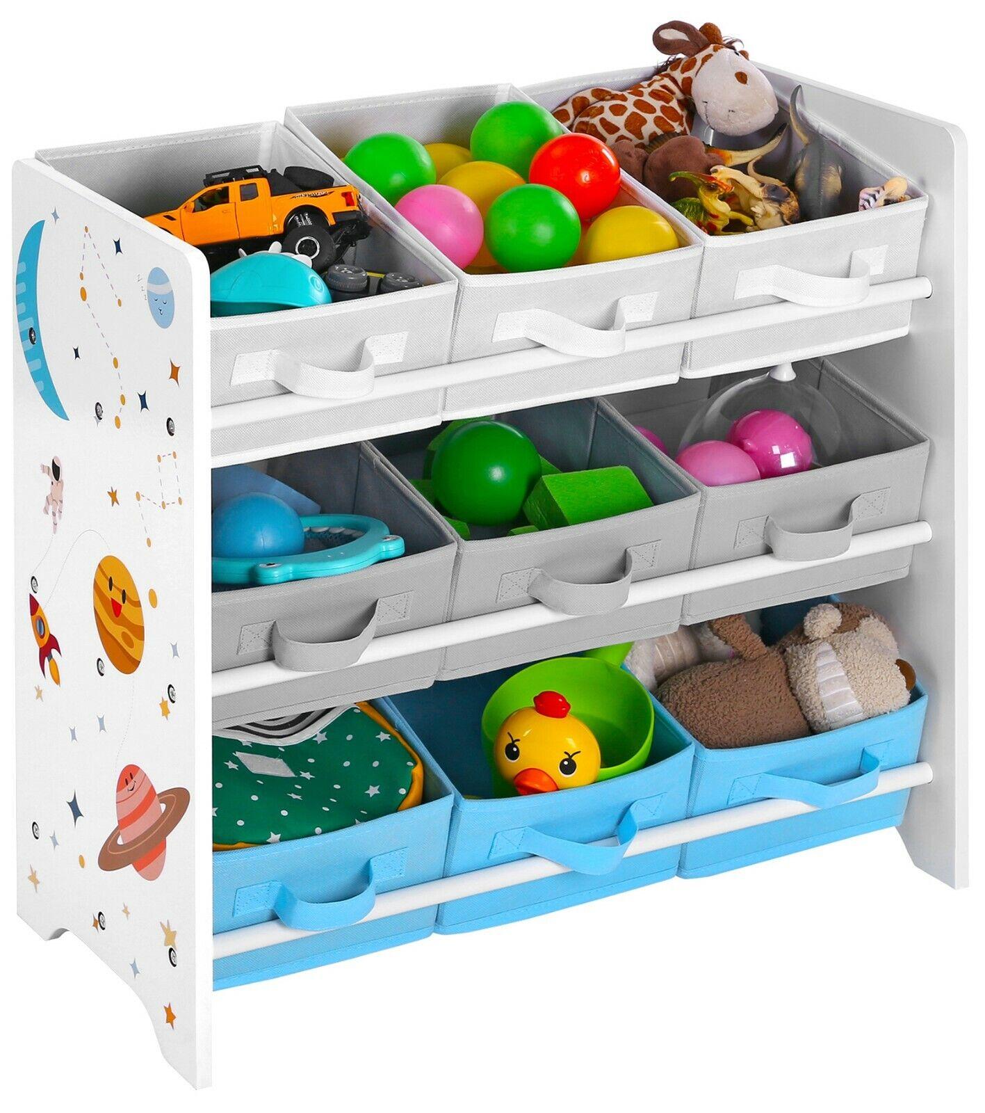 Kinderzimmerregal Bücherregal Spielzeug-Organizer für Kinder 9 Kästen GKR33WT