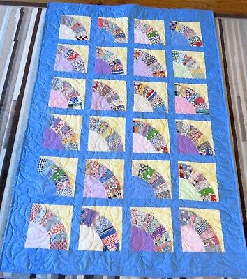 USA Made Lap/Toddler Size Quilt Patchwork Fans W/ Feedsack Prints ()