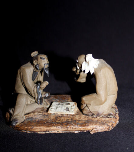 "4""L x 2.5""H  Unglazed Old Men Playing Chinese Chess Mudmen Bonsai Figurine"