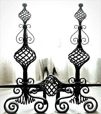 Fireplace Andirons, Tool Set, wrought iron, c1890 Richardsonian, Chicago, 29