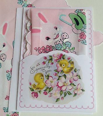 Cheerful Easter Bunny Handkerchief - Mailable Hankie Gift Folio Pink Bow Tie!